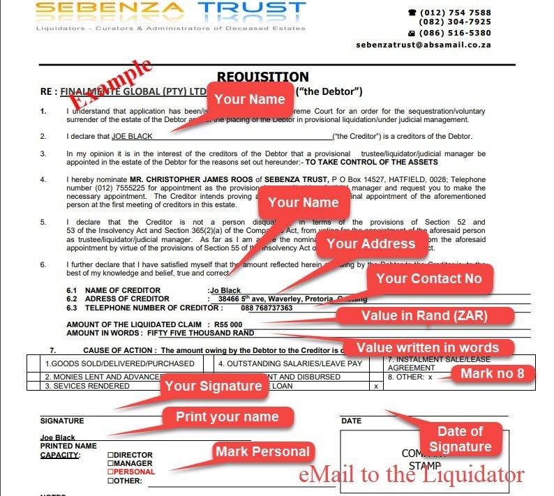 210114 Finalmente Liquidator Requisition form for Creditor Investor